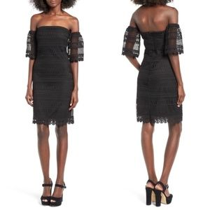 NWT LEITH Nordstrom Black Lace Off Shoulder Dress